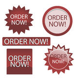 Order now button. Set of five web button with order now text,isolated on white.EPS file available Stock Images