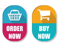 Order now and buy now with shopping basket and cart signs, two e. Order now and buy now with shopping basket and cart symbols, two elliptic flat design labels Stock Images
