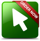 Order now cursor icon green square button Stock Photography