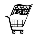 Order Now Flag Shopping Cart Royalty Free Stock Image