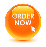 Order now glassy orange round button Royalty Free Stock Photo
