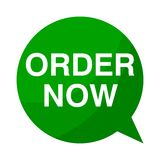 Order now, Green Speech Bubble. Green Speech Bubble order now, vector icon Royalty Free Stock Image