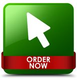 Order now green square button red ribbon in middle. Order now isolated on green square button with red ribbon in middle abstract illustration Stock Image
