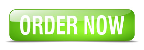 Order now green square   web button Stock Photography