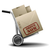 Order now handtruck. Detailed illustration of a handtruck or trolley with cardboxes with order now label on them Stock Image