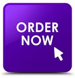 Order now purple square button Stock Photography