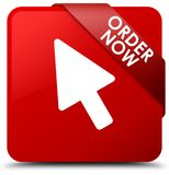Order now red square button red ribbon in corner. Order now isolated on red square button with red ribbon in corner abstract illustration Royalty Free Stock Photography
