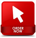 Order now red square button red ribbon in middle. Order now isolated on red square button with red ribbon in middle abstract illustration Royalty Free Stock Images