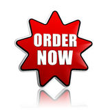 Order now on red star banner Royalty Free Stock Photography