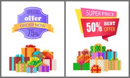 Order Now Special Exclusive Offer Super Price Sale. Order now special exclusive offer super price 75 50 sale posters piles of gift boxes wrapped in decorative Stock Images