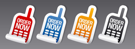 Order now stickers. Stock Photos