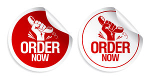 Order Now Stickers. Stock Images
