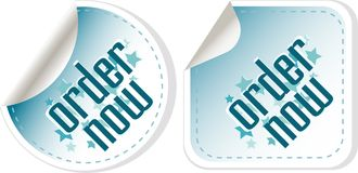 Order now stickers label set Stock Photos