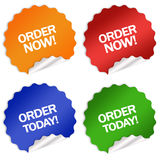 Order now today sticker vector illustration
