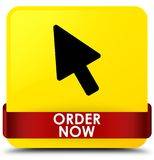 Order now yellow square button red ribbon in middle. Order now isolated on yellow square button with red ribbon in middle abstract illustration Stock Photos