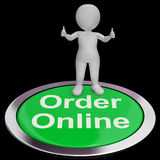 Order Online Button Shows Purchasing On The Web Stock Photography
