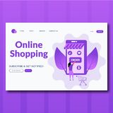 Order online concept with character. Flat characters illustration. Landing page for web royalty free illustration