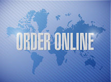 Order online international map sign concept Stock Images