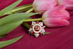 Order of Patriotic War and flower Stock Photography