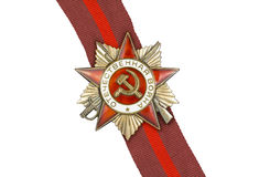 Order of the Patriotic War I, and a ribbon. Order of the Patriotic War 1st class and a ribbon on a white background stock images