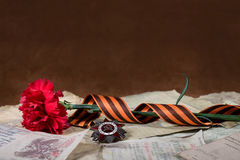 Order of the Patriotic War, red carnation and Ribbon of St George Royalty Free Stock Photo