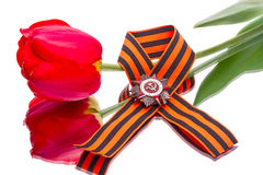Order of the Patriotic War on ribbon and tulip Stock Photo