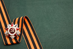 Order of the Patriotic War and St. George ribbon on green backgr Royalty Free Stock Photography