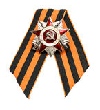 Order of the Patriotic War and St. George ribbon on white backgr Stock Image