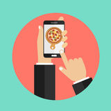 Order pizza on line. Flat illustration stock illustration