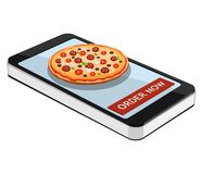 Order pizza using smartphone or tablet. Order pizza online. Pizz. A and smartphone isolated on white background. Vector illustration Royalty Free Stock Photography