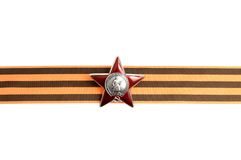Order of the Red star on Saint George ribbon as horizontal border. Isolated on white background royalty free stock image