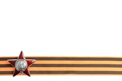 Order of the Red star on Saint George ribbon as horizontal border. Isolated on white background royalty free stock images