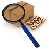 Order status processing. Order status shown as a concept with shipping carton under lens with your order words on floor Royalty Free Stock Images