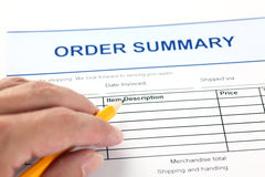 Order summary application form Royalty Free Stock Photo
