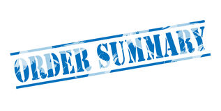 Order summary blue stamp Royalty Free Stock Image