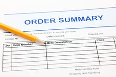 Order summary form. And pencil Royalty Free Stock Photography