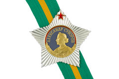 Order of Suvorov I degree on the tape. On a white background royalty free stock photography
