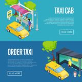 Order taxi isometric 3D posters. Urban and countryside traffic concepts with transport stops and yellow taxi cab vector illustration. City public transport Royalty Free Stock Images