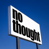 Order to NO thought. Horizontal billboard with the order to NO thought, against unreal blue sky. Abstract concept of consumerism, human mind control, power of royalty free stock photos