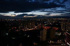 Mongolia Night Ulan Bator view from the mountain Zaisan.Bird`s-eye view. In order to see the whole of Ulan Bator, it is enough to climb the Zaisan Memorial royalty free stock image