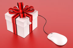 Order your present. Internet store concept gift box & mouse- 3d render Royalty Free Stock Images