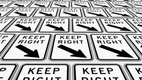 Ordered Arrangement of Keep Right Signs Stock Image