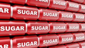 Ordered Array of Sugar Labelled Soda Cans Royalty Free Stock Images