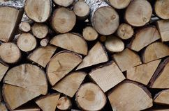Ordered Firewood Stack. In perfectly cleaved joints pieces Stock Image
