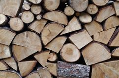 Ordered Firewood Stack. In perfectly cleaved joints pieces Royalty Free Stock Images