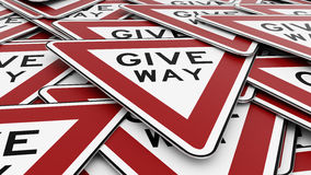 Ordered Pile of Give Way Signs Royalty Free Stock Images