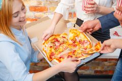 The ordered pizza in a close-up box is very appetizing Royalty Free Stock Photography