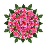 Ordered round bouquet of pink rose flowers and buds Royalty Free Stock Image