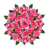 Ordered round bouquet of pink rose flowers and buds Stock Images
