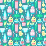 Ordered seamless pattern with baby hygiene accessories in flat style. Suitable for wallpaper, wrapping or textile vector illustration